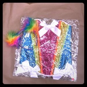 Other - Rainbow sequin corset and matching head poms !NWT